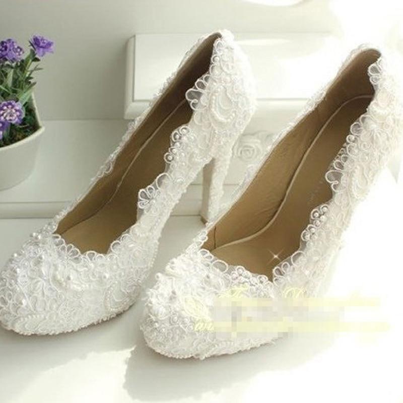 Elegant Lace Wedding Dress Shoes Brida Gowns High Heel Shoes Quick ...
