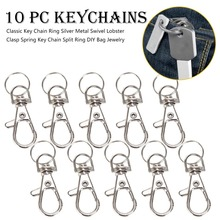 Classic Key Chain Ring Silver Metal Swivel Lobster Clasp Clips Hooks chain Split DIY Bag Jewelry