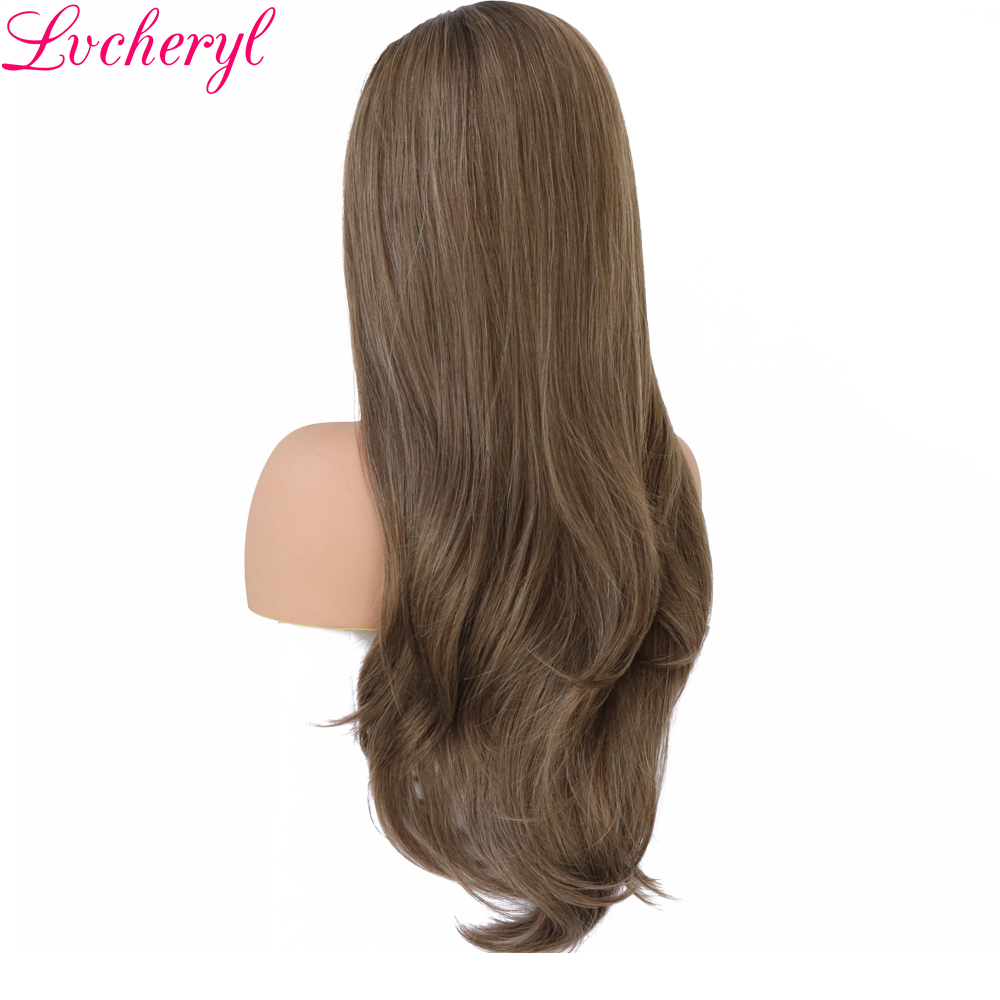 Lvcheryl New Trendy Hand Tied Dark Roots To Brown Highlight High Temperature Fiber Hair Synthetic Lace Front <font><b>Wigs</b></font> for Beauty