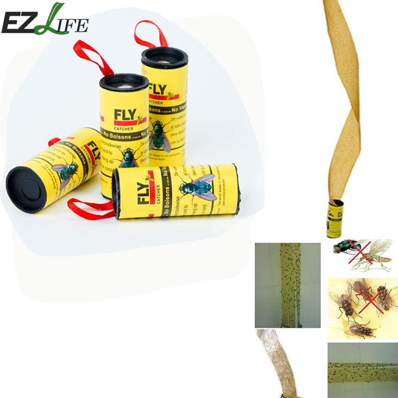 4 Rolls/pack Fly Catcher Insect Bug Fly Killer Glue Paper Trap Ribbon Strip Sticky Fies Pest Control Home Summer Kill Fly Tool