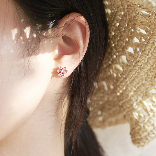 Solid 925 Sterling Silver Pink Cat Paw Stud Earrings 3