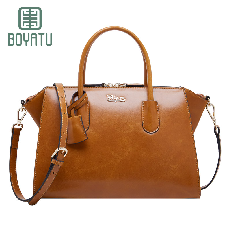 BOYATU Quality & luxury genuine leather bag woman handbags brands stylish embossing woman shoulder bag embossed cowhide bag
