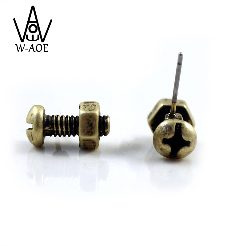 2017 New Fashion Jewelry Vintage Simple Punk Screw Stud Earrings For Women Man Tool Earrings Party Gift