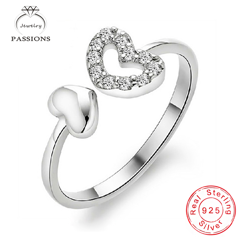 Wholesale Fashion 925 Sterling Silver Rings Open Wide Resizable Strass Love heart Rings For Women Engagement Trouwringen