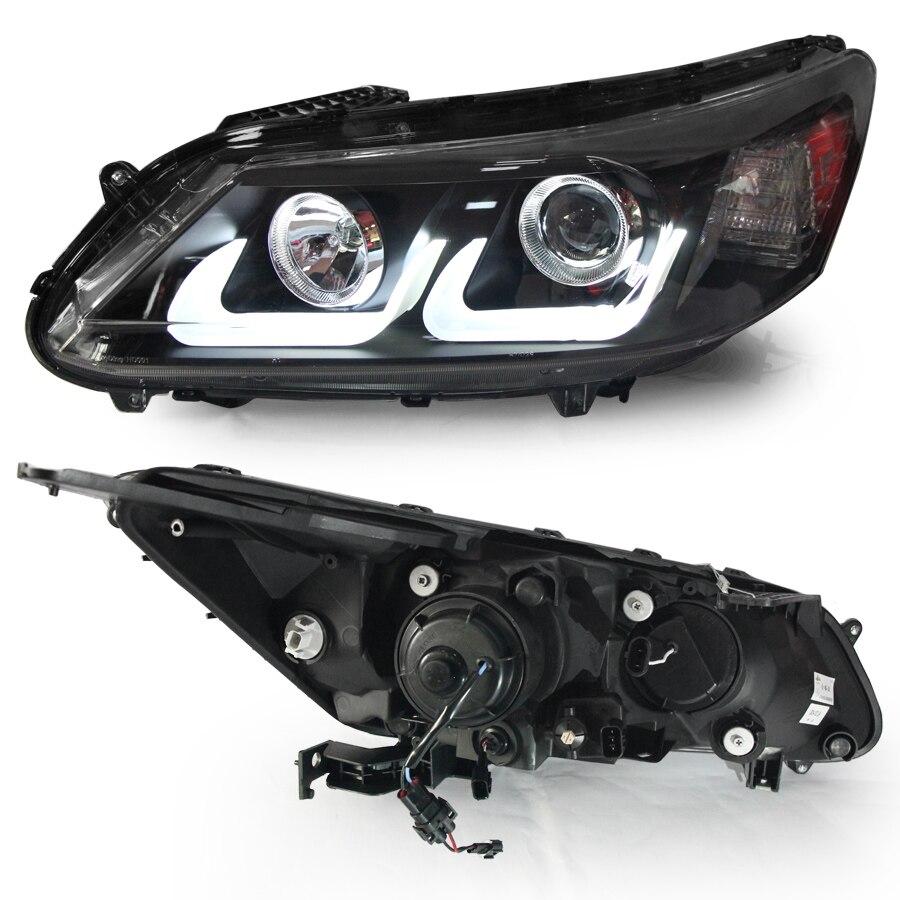 Lampes Auto pour Honda pour Accord VIIII 9e Tête lampes bi-xénon phares Angel eyes 2013-2015 année LD