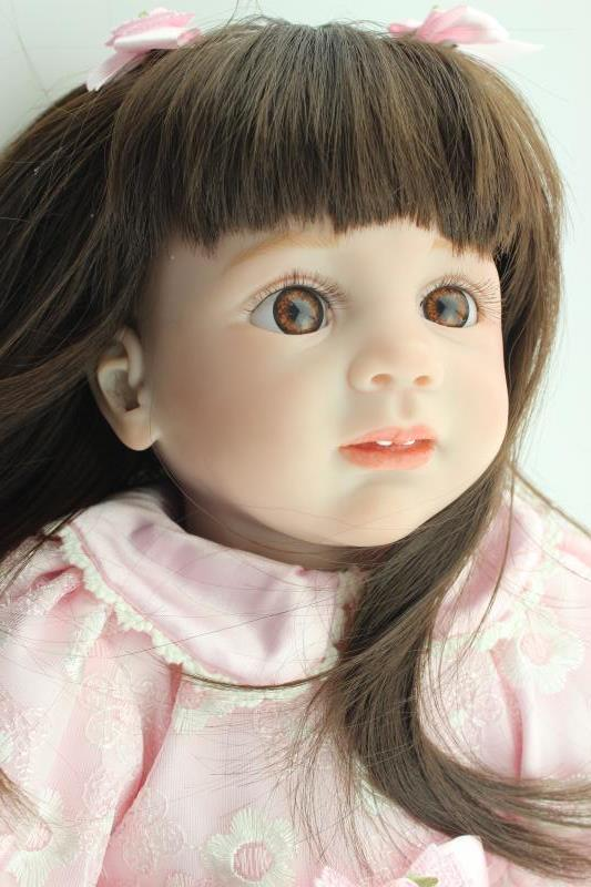 NPK 24in 60cm hot sale reborn toddler baby girl dolls with long hair and skirt silicone limbs and cloth body dolls