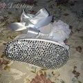 Dollbling Крещение Белый Цветок Великолепный Сатин 0-1 детская обувь Рябить Основной Благородный Bling Бутик кристалл нижней детская обувь
