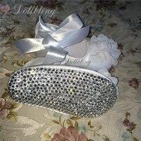 Dollbling Bautizo Flor Blanca de Satén Magnífico 0-1 zapatos de bebé de La Colmena Básica Noble Bling cristal Boutique de zapatos inferiores infantiles