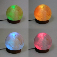 1PC Round Hand Carved USB Wooden Base Himalayan Crystal Rock Salt Lamp Air Purifier Night Light