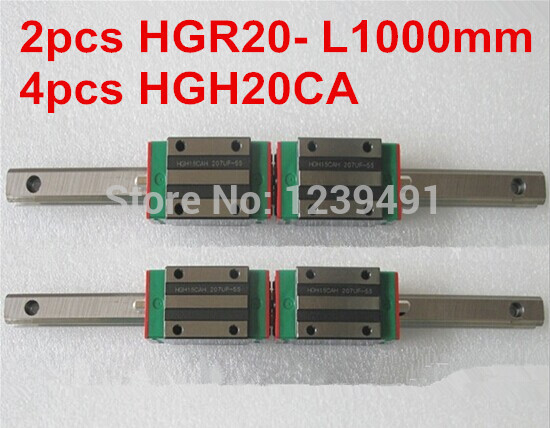 2pcs HIWIN linear guide HGR20 -L1000mm with 4pcs linear carriage HGH20CA CNC parts free shipping to argentina 2 pcs hgr25 3000mm and hgw25c 4pcs hiwin from taiwan linear guide rail
