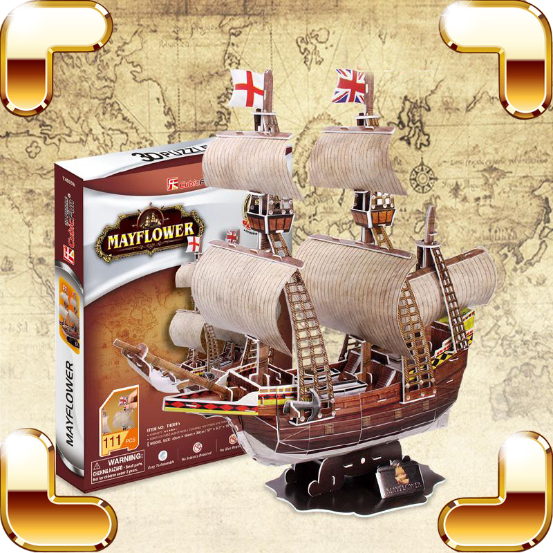 New Year Gift Mayflower 3D Puzzles Model Ship Decoration DIY Building Kit Education Game Assembly Family Handmade Work Together