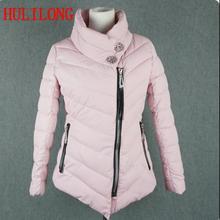 Hll женщины весна куртка теплая верхняя одежда проложенный хлопка куртка пальто womens clothing манто femme кристалл пряжки