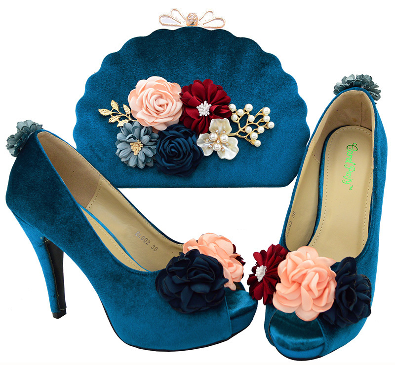 Women's <font><b>Teal</b></font> African Italian Pumps Party Shoes and Sales Bag In Women's Shoe And <font><b>Handbag</b></font> Combining Ladies Super high heel BL002