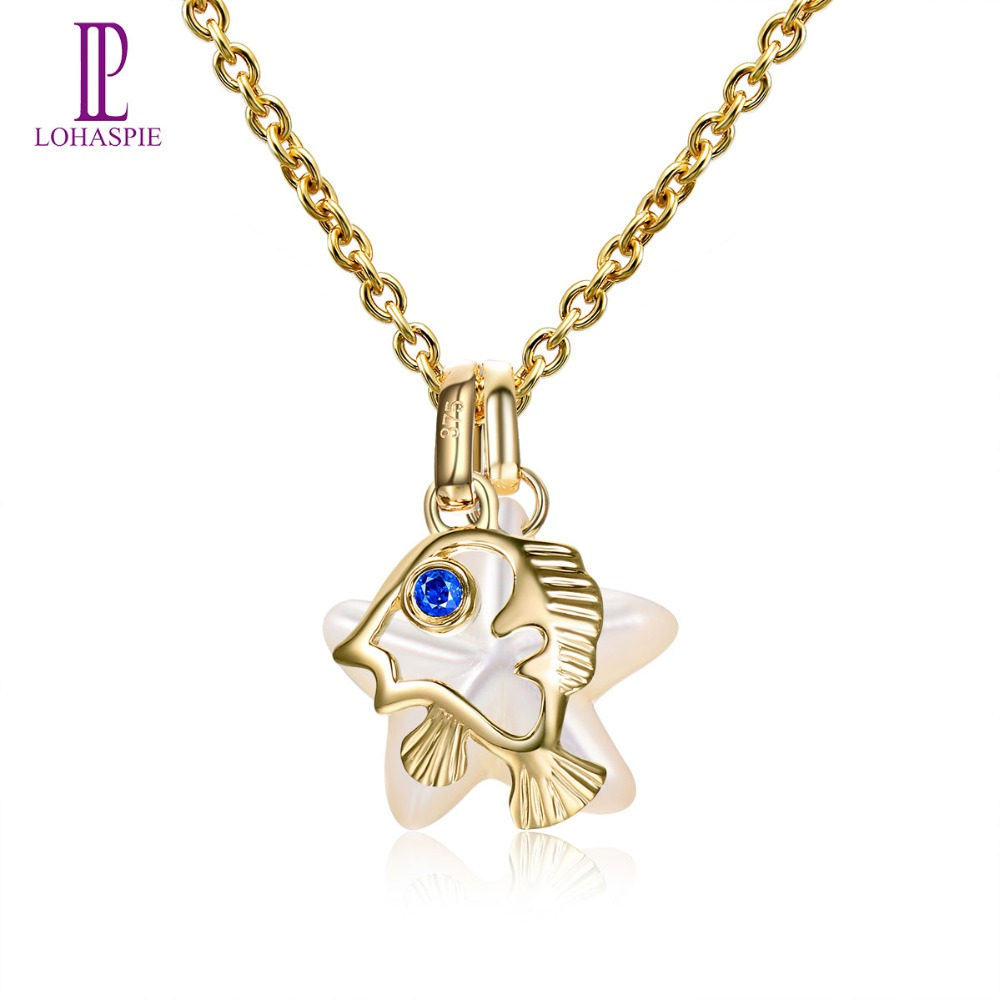 Lohaspie Pearl Jewelry Ocean Party Solid 9k Yellow Gold Pendant Natural Sapphire Mother of Pearl Fish Star Fine Jewelry For Gift lohaspie ocean party natural sapphire pendant solid 9k yellow gold mother of pearl starfish fine fashion stone pearl jewelry new