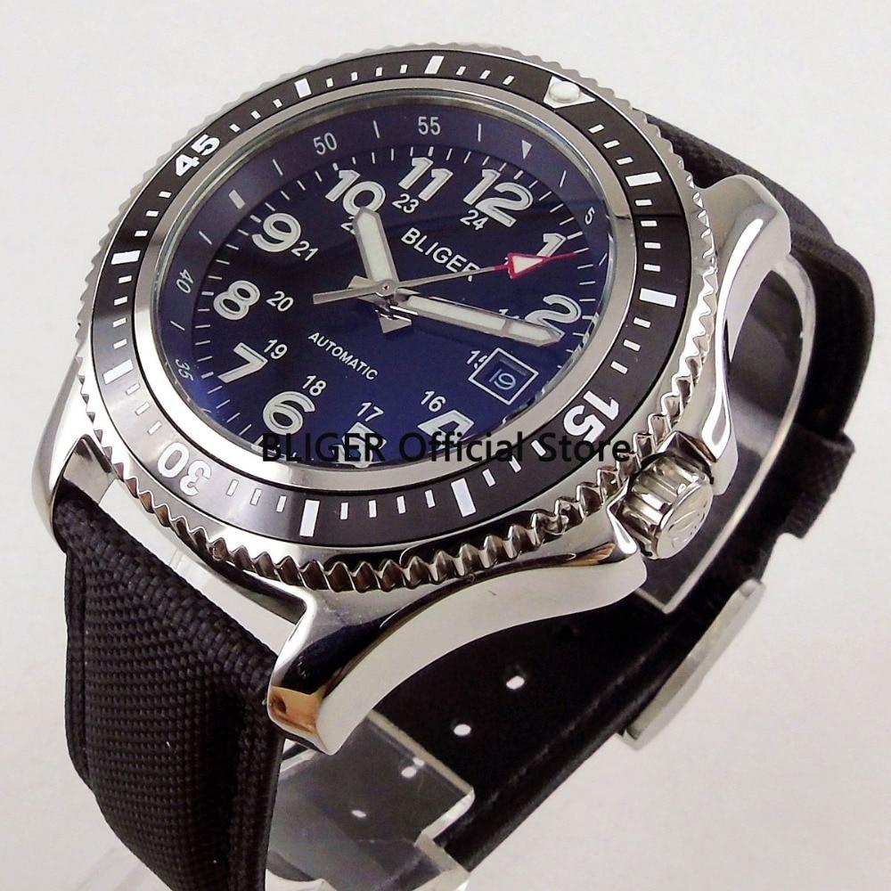 купить BLIGER 44mm Black Dial Black Ceramic Rotating Bezel Luminous Marks Date Display Dress Miyota Automatic Movement Men's Watch B56 онлайн