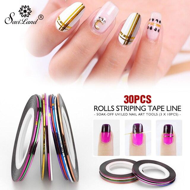 Saviland 30 Rollen Gemischt Farbe Nail-klebeband Aufkleber Für DIY 3D Vielzahl Nail art Tipps Dekorationen Nagel Linie Folie nagel Aufkleber