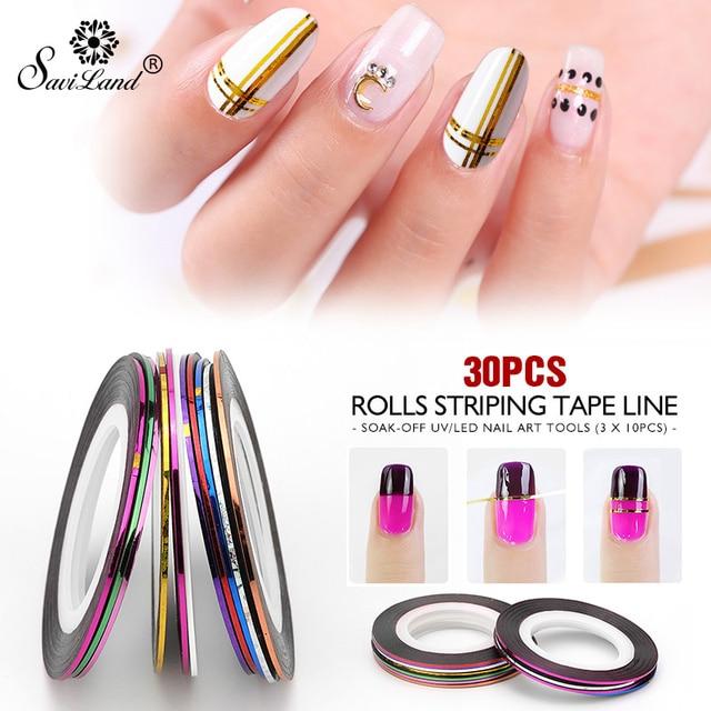 Saviland 30 Rolls Mixed Color Nail Striping Tape Decal For DIY 3D Variety Nail Art Tips Decorations Nail Line Foil nail Sticker