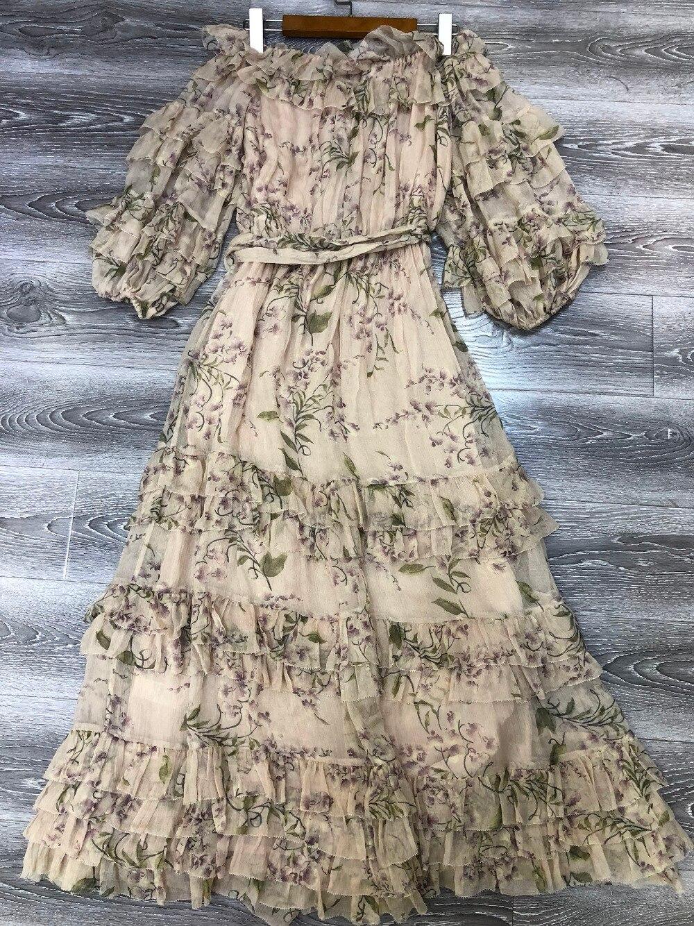 Élastique Taille Imprimer Midi Robe Longue 100 Soie Avec As Débridée À Encolure Ceinture Femmes Show Volants Floral Wisteria Picture Lilas SqvP1wqB