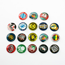 10pcs Mixed 18mm Round Football Club Badge Pattern Glass Patch Cover Cabochons Cameo Jewelry Findings