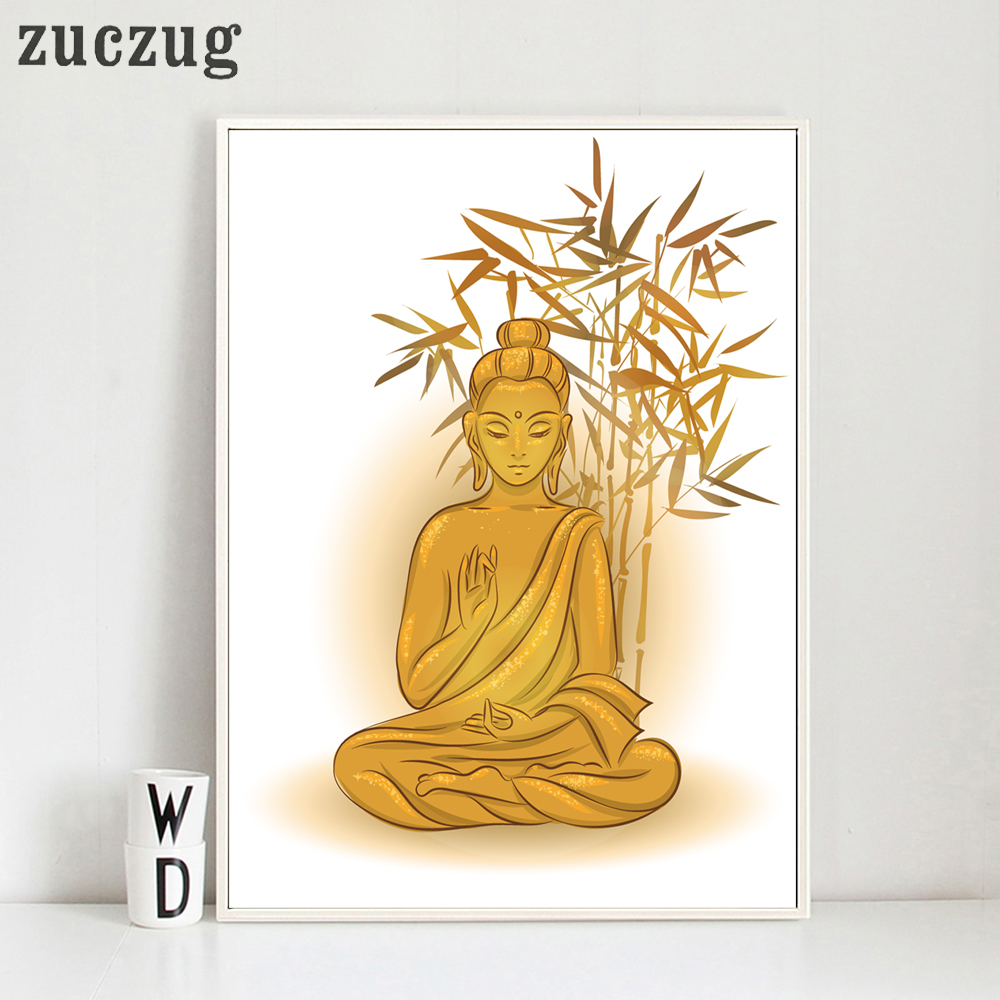 Buddha With bamboo Art Poster and Print On Canvas Home Decor ...