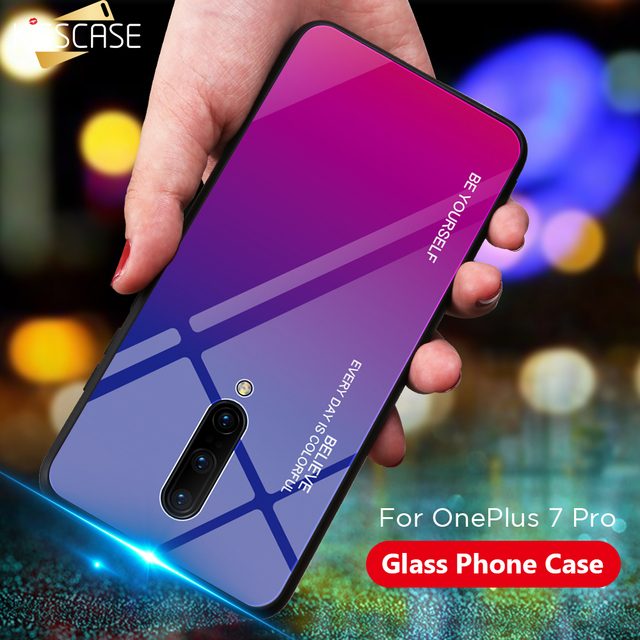 KISSCASE For Oneplus 7 Pro Case Tempered Glass Luxury Gradient Soft Silicone Frame Back Cover For One Plus 7 Phone Case Funda