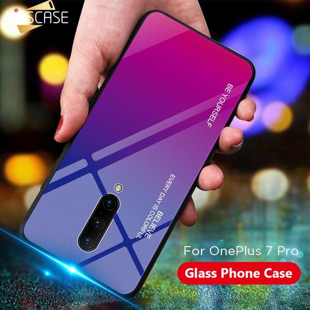 KISSCASE Oneplus 7 プロケース強化ガラスの高級グラデーションソフトシリコンフレーム裏表紙 1 プラス 7 電話ケース Funda
