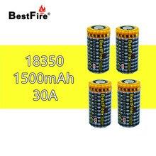 4 шт. BESTFIRE IMR 18350 1500 мАч 30A перезаряжаемая литиевая батарея для E CIG игрушка фонарик для ноутбука автомобиля Замена литий ионных батарей