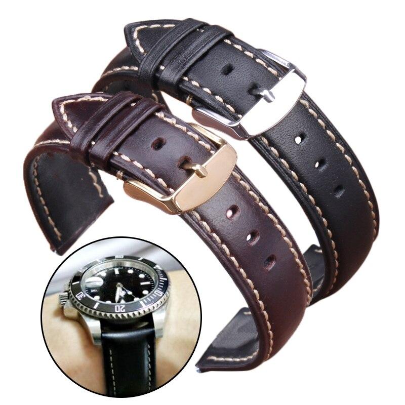 Handgemachte Echtes Leder Uhrenarmbänder 18 19 20 21 22 24mm Schwarz Dunkelbraun VINTAGE Armbanduhr Band Bügelgurt Stahl Dornschließe