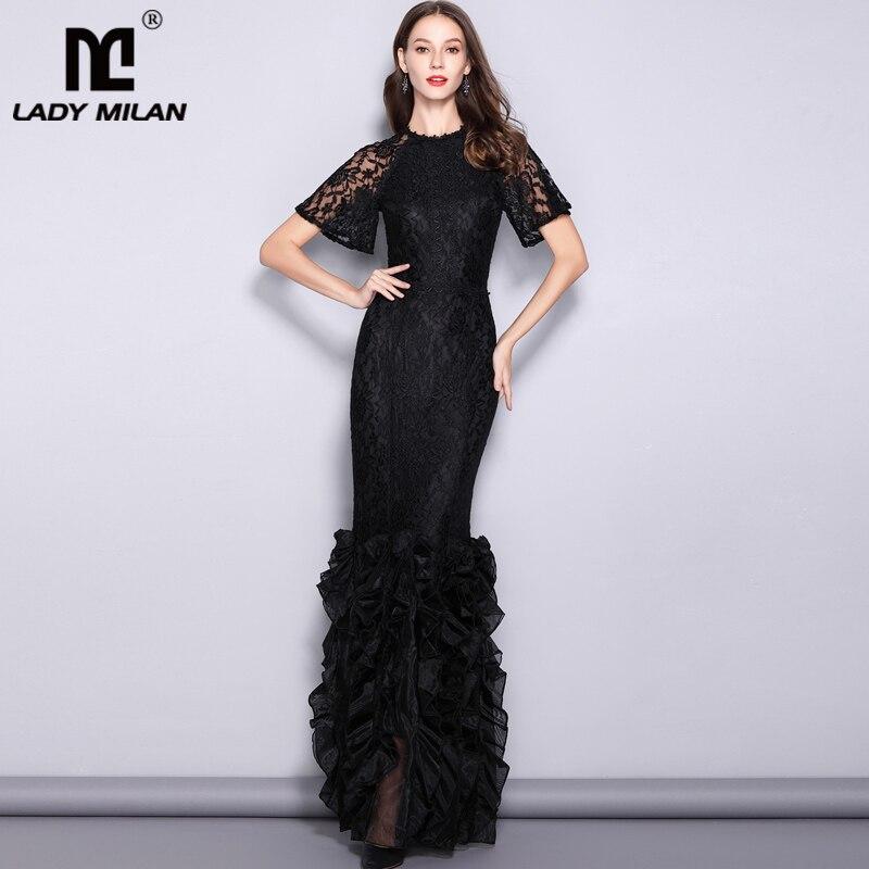 Lady Milan Women s Runway Designer Dresses O Neck Short Sleeves Embroidery Lace Prom Ruffles Mermaid