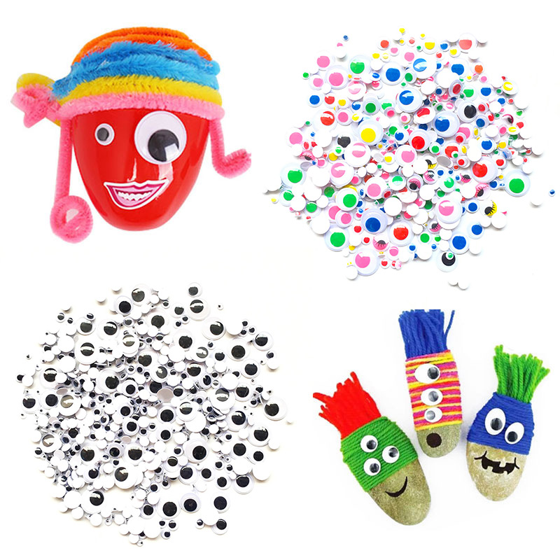 300 Pcs Small Colorful Black Eyes Stickers For Doll Plush Stuffed Cup Car Painting DIY Accessories DIY Assembling Eyes For Toys