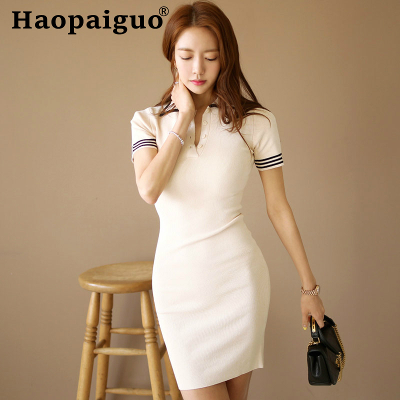 2019 Summer Knitted Dress Women Turn-down Collar Corset White Casual Wrap Black Sheath Mini Bodycon Robe