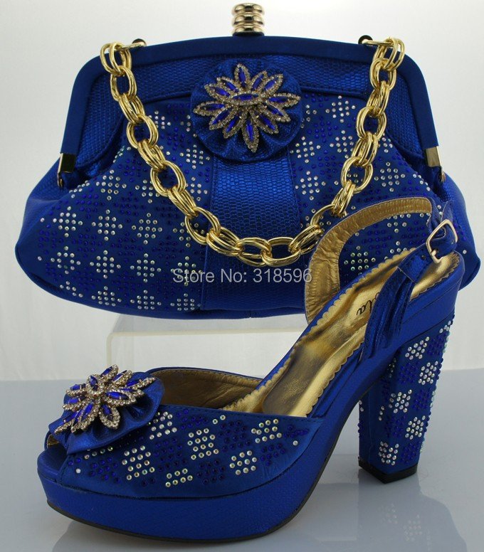 Elegant Dress Shoe And Bag Matching Set Wholesale Shoe And Bag To Match IN BLUE With Free ...