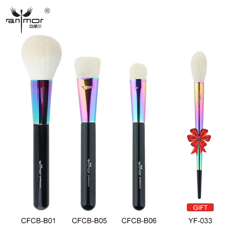 Anmor Buy 3 Get 1 Gift Pure Goat Hair Face Makeup Brushes Kit Powder Blush Blending Make Up Brushes Rainbow Color