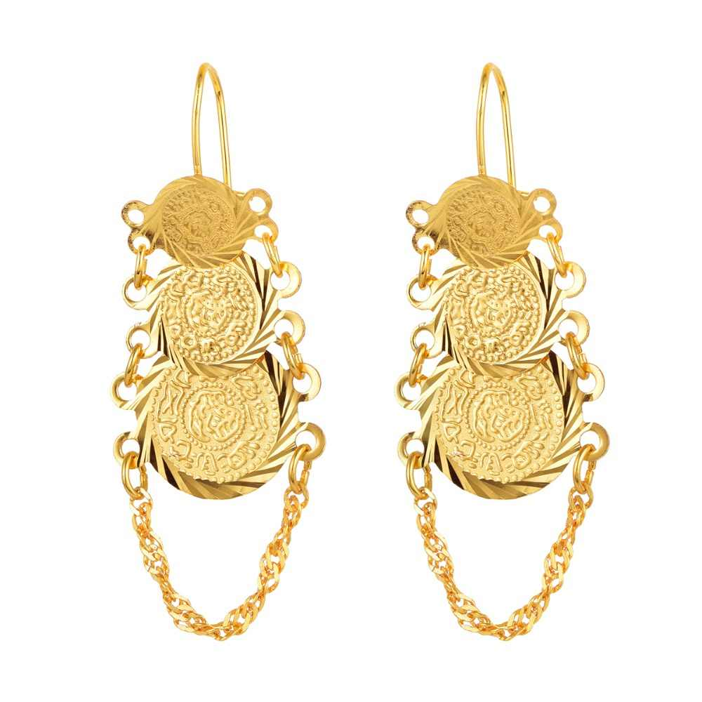 Muslim Gold-Color Ancient Coins Islamic Earrings Jewelry for Woman Arab African Style