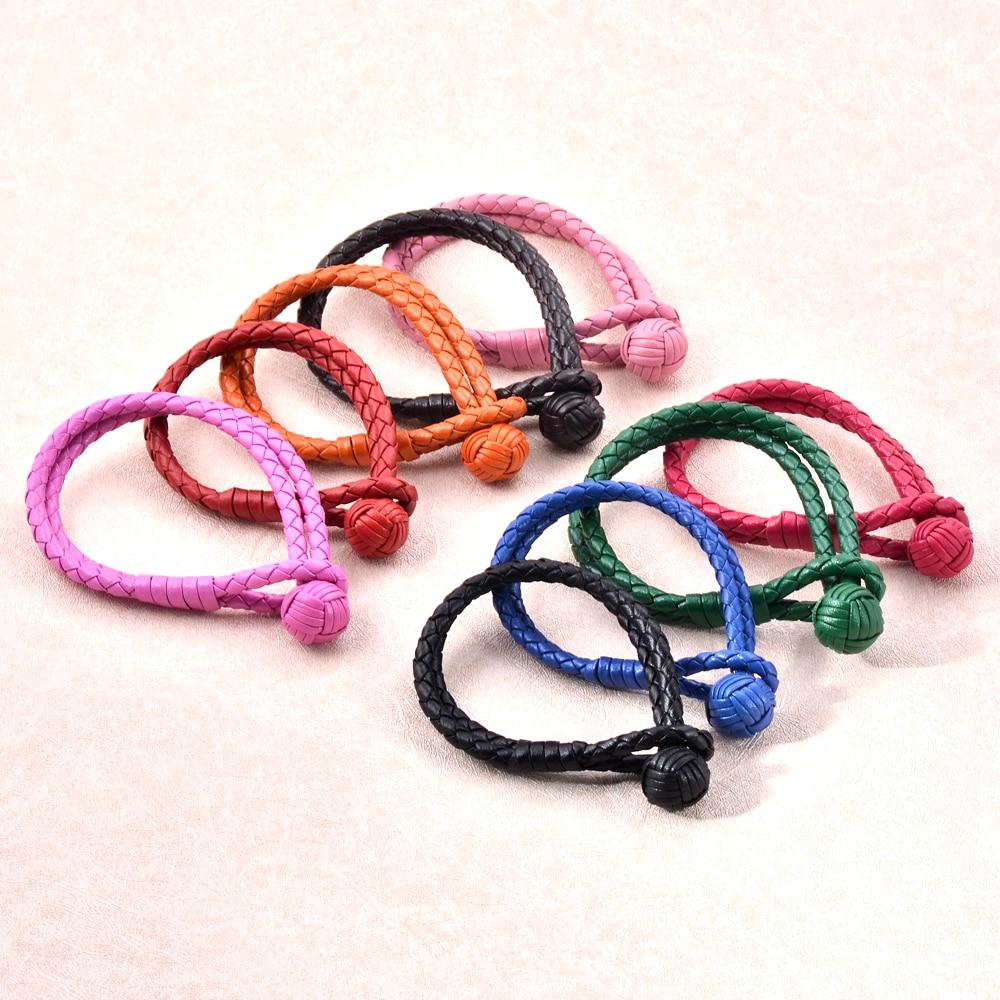 MJB3201 Pletené kožené náramky pro ženy Pánské náramky Náramky Fashion Ball Clasp