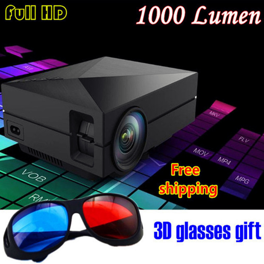 NEW GM60 Fashion portable Home theater projector 1000Lumen mini proyector with LED LCD HD HDMI VGA SD 3D Projector free shipping
