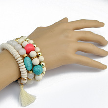 4PCS Bracelet Femme Mens Jewelry Buddha Bracelets Women Pulseras Bohemian Boho Diy Tassel Bijoux Natural Stone Beaded Handmade