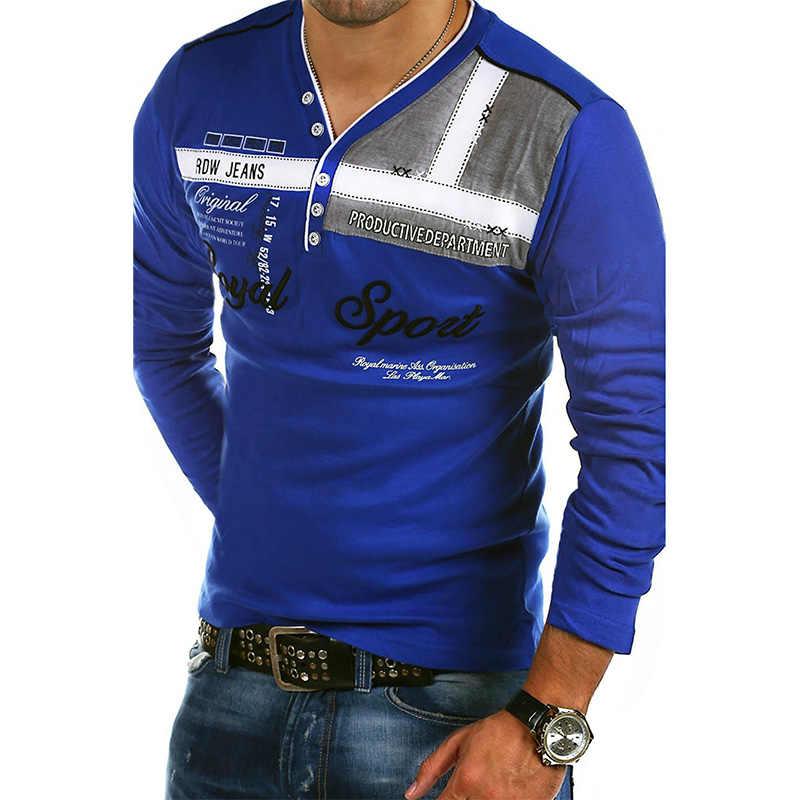 19df3a7fc60 ... ZOGAA рубашки поло для мужчин 2018 модный бренд новый длинный рукав  Slim Fit рубашка мужская хлопковая ...