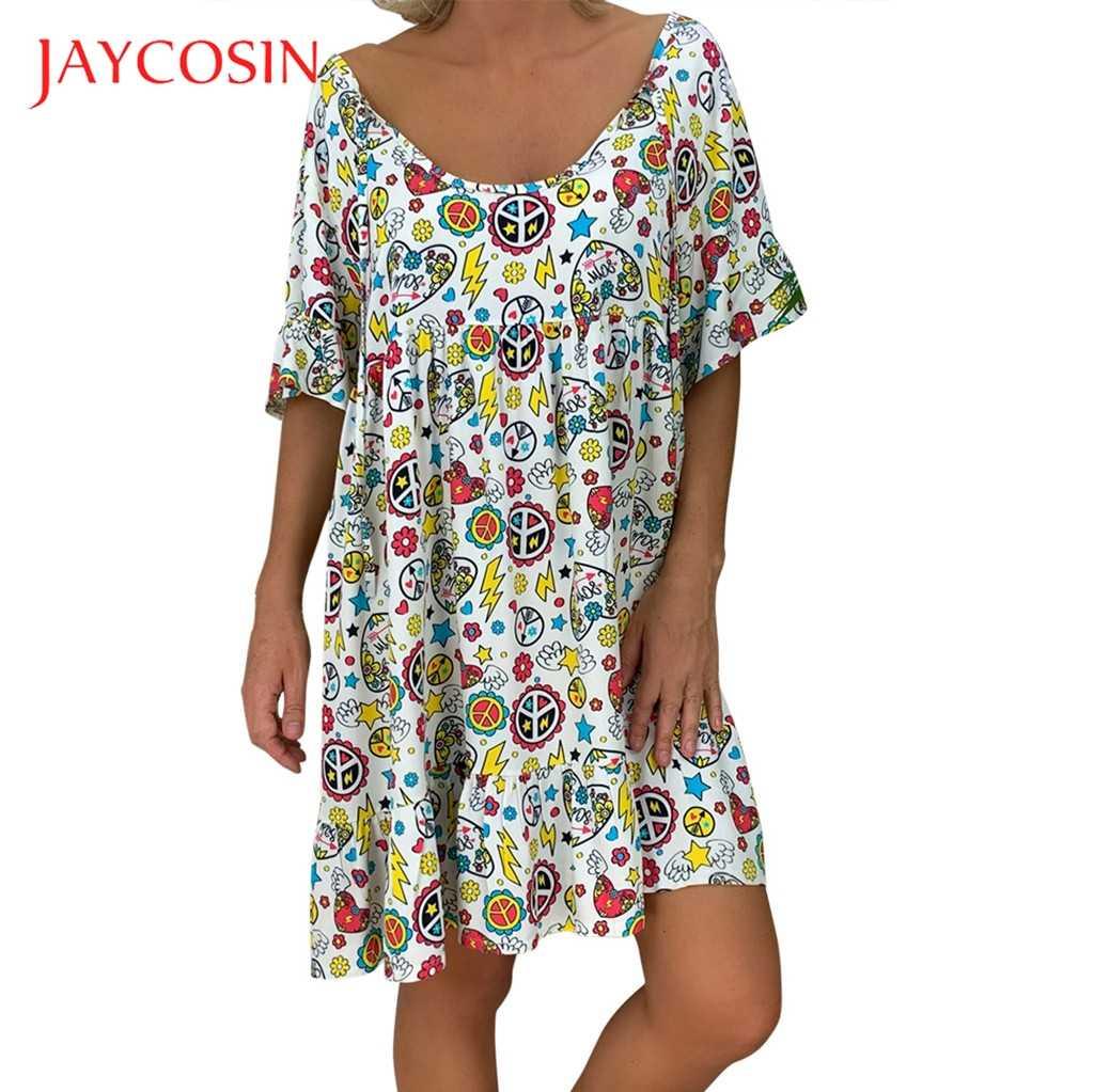 JAYCOSIN 5XL Dress women Loose Print Short Sleeve Mini Sundress Summer Dress Ruffle Boho Floral Print Vestidos Femme Plus Size 7