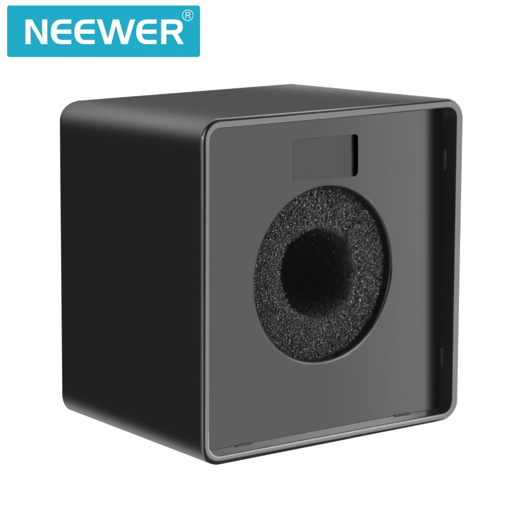US $6 99 |Neewer Portable Square Cube Shaped Interview Mic Microphone Flag  Station Logo with Max 1 57 inches/4cm Hole Black-in Microphone Accessories