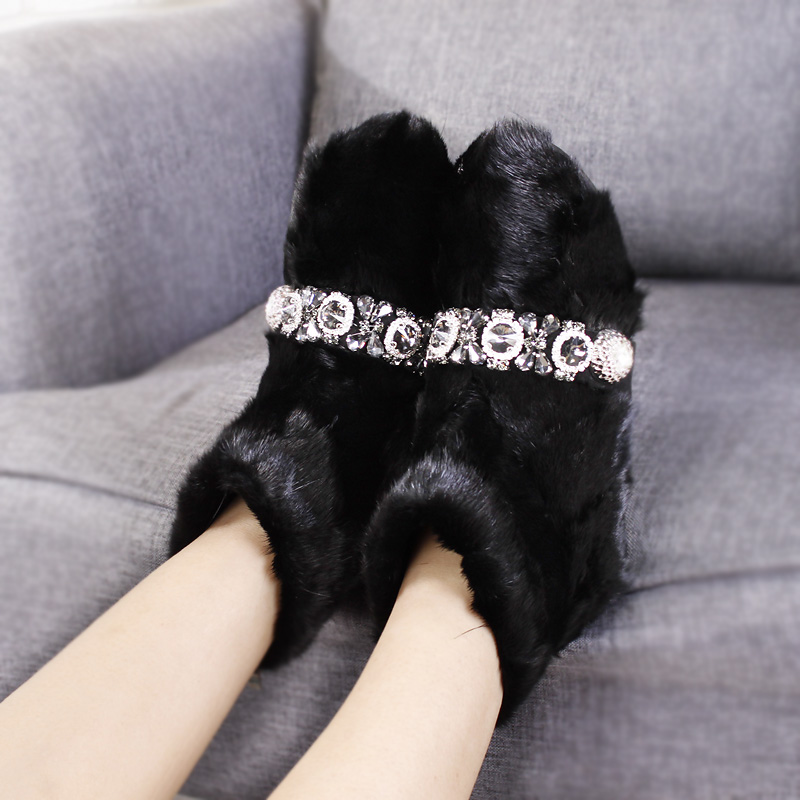 2018 Europe Women Boots Luxury Mink Fur Snow Boots Winter Warm Rhinestone bling Beaded Flat Shoes #29