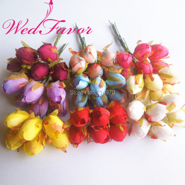 2cm Artificial Rose Flower Bouquet Small Tea Bud Fake Flowers For