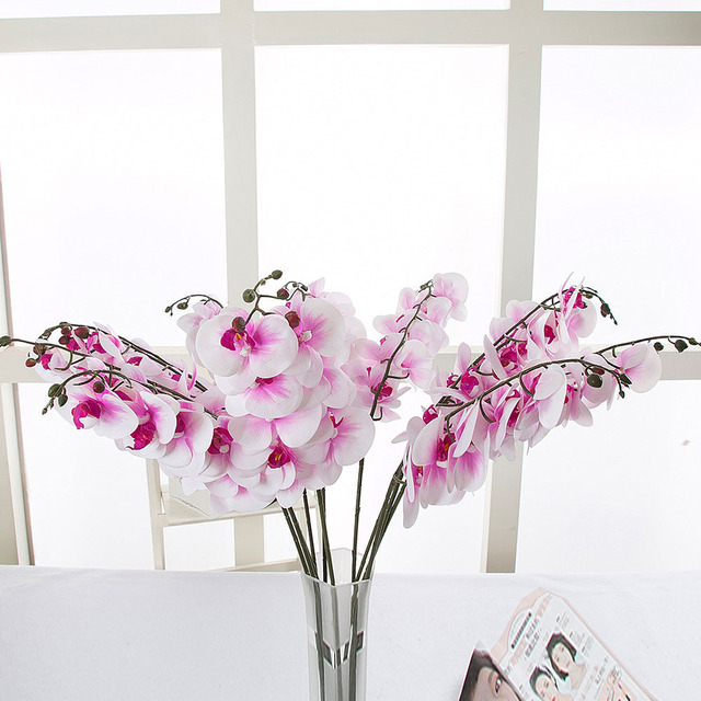 10pcs wedding decoration real touch artificial flower japanese silk 10pcs wedding decoration real touch artificial flower japanese silk white pink art orchid for home decor junglespirit Gallery