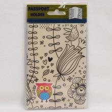 Europe Cartoon Style 2D Passport Holder PVC  Passport Cover Case For Travel,14*9.6cm Card & ID Holders Mini Order 1pcs-The owl