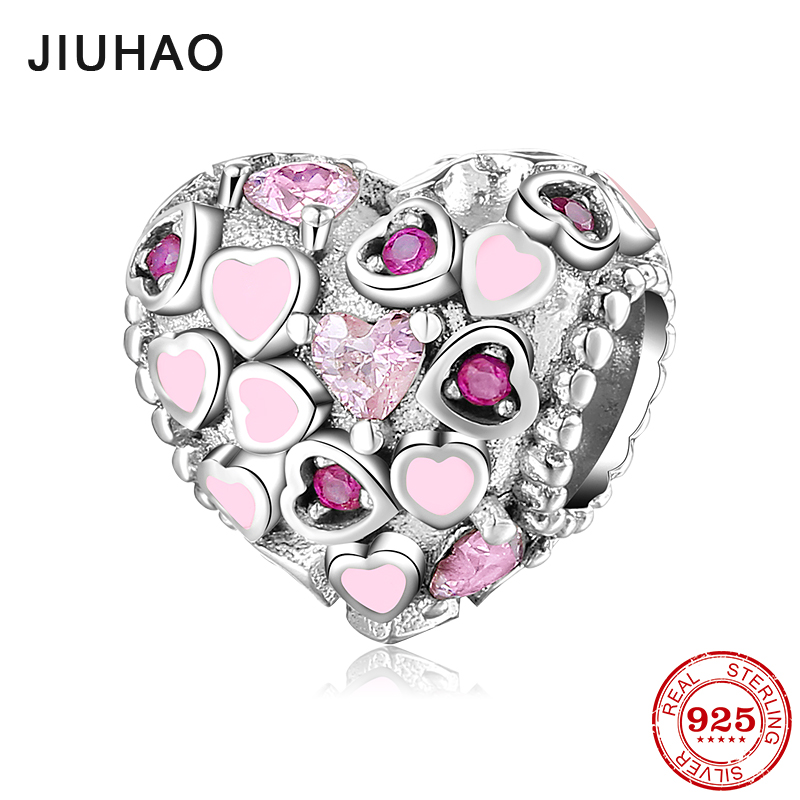 100% Authentic 925 Sterling Silver Pink heart crystal clear zircon beads Fit Original Pandora Charms Bracelet Jewelry Making
