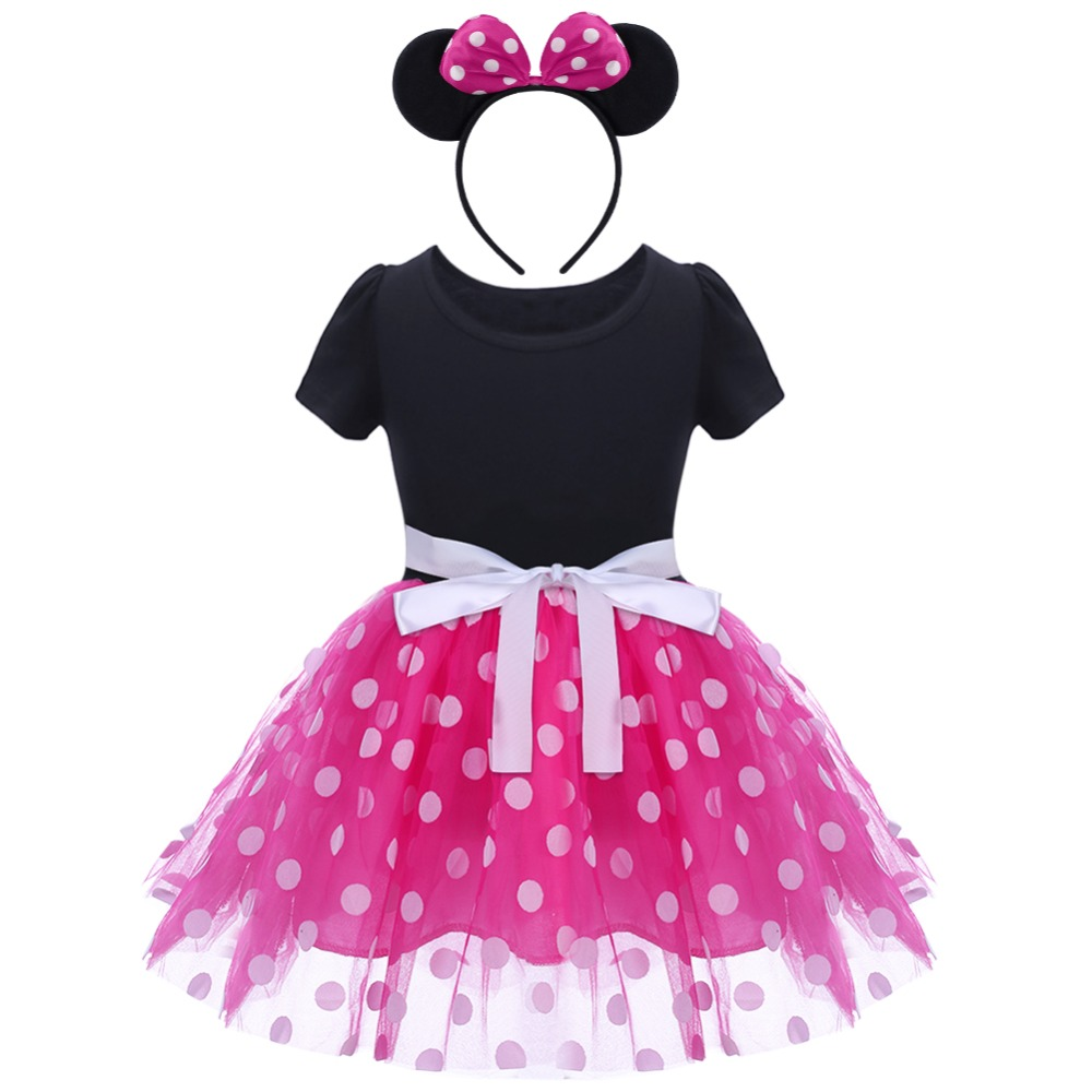 Kid Girl Minnie Mouse Outfits Birthday Party Costume Tutu Fancy Dress Headband
