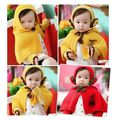 2016 Fashion Baby Hat Scarf Gloves Set Red Yellow Girl Cloak Kids Headdress Winter Clothes  Accessories Solid  Baby Cap