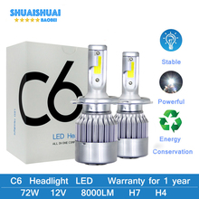 Car Turbo Led Headlight Bulbs  H4 H1 H3 H11 9005 9006 H7 H8 H9 880 881 72W/Pair Auto 12V 6000K High Bright Lamp