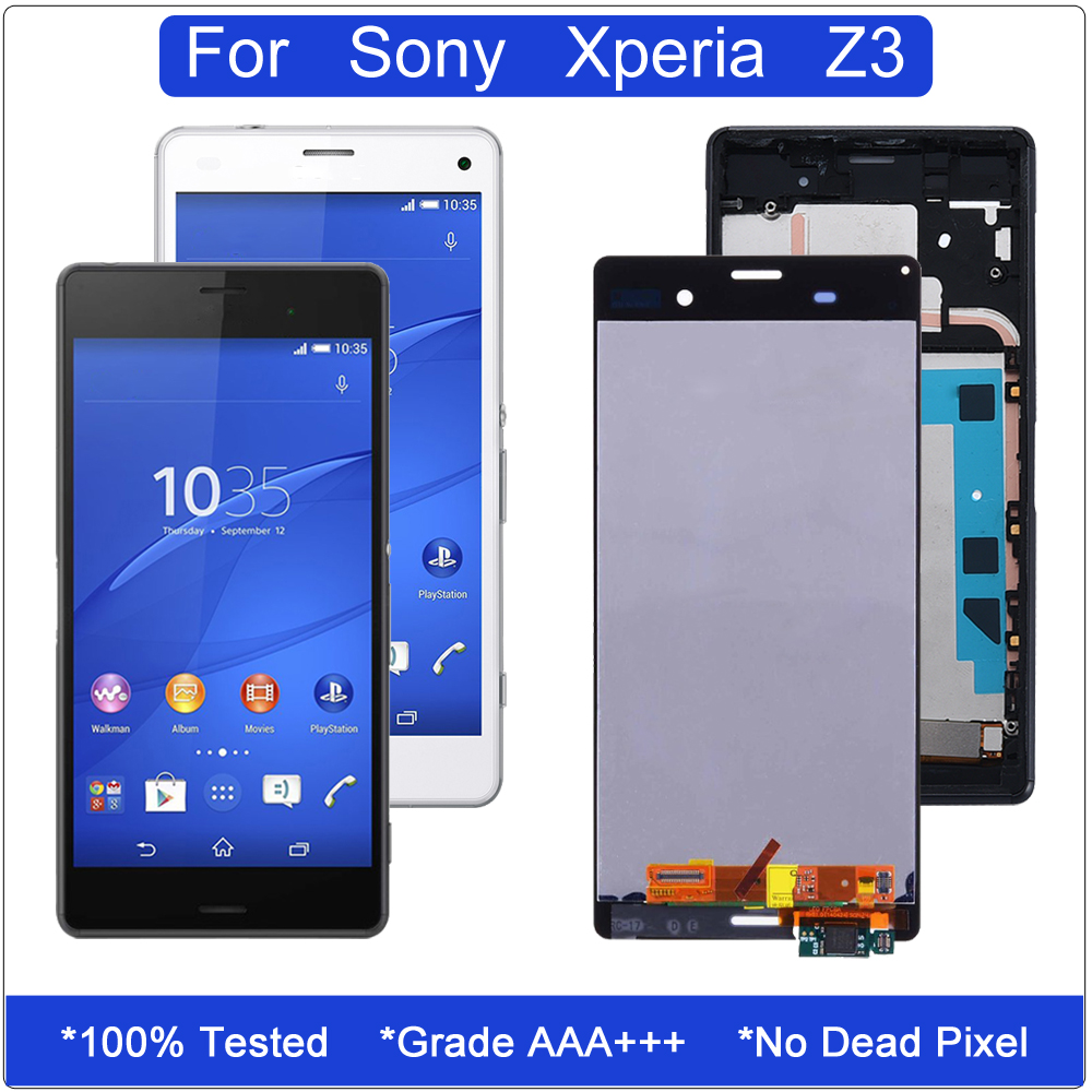 Original LCD for <font><b>Sony</b></font> Xperia <font><b>Z3</b></font> Touch Screen Digitizer Assembly for <font><b>Sony</b></font> Xperia <font><b>Z3</b></font> Dual Display LCD <font><b>D6603</b></font> D6633 D6653 With Frame image