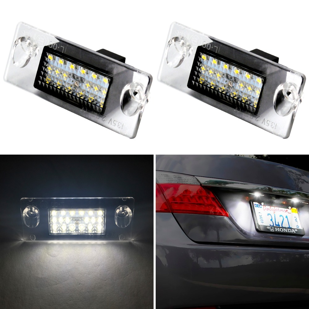 2xCar-styling 18SMD Led license plate light T10 For Audi A4 B5 1996~2000 A3 8L Facelift 1996~2000 Number Plate Lights Lamp запчасти для двигателя audi c6 a6l 2 4 2 8 3 0